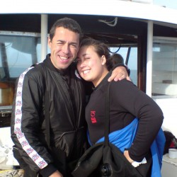 PADI Master Instructor Steve Griffiths & Daughter Nicola, wreck diving in the English Channel.