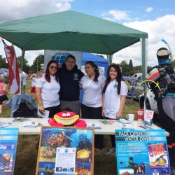 Scuba in the Weald dive team at the Cranbrook Summer Fair in Kent.
